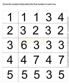 Preschool Worksheets, Number Matching Worksheets for Preschoolers ...