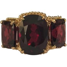 Preowned Elegant Three Stone Garnet Ring With Gold Rope Twist Border ($2,900) ❤ liked on Polyvore featuring jewelry, rings, multiple, three stone ring, yellow gold rings, garnet jewelry, cushion cut ring and gold rings