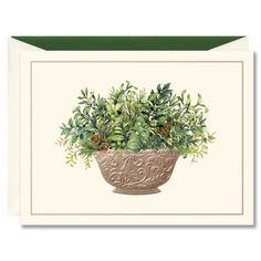 Festive Greens in Pewter Bowl Boxed Holiday Greeting Cards Greeting Card Box, Holiday Greeting Cards, William Arthur, Your Cards, Pewter, Greenery, Festive, Flora, Planter Pots