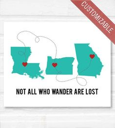 "Perfect for those who have moved around. Love! ""Not All Who Wander Are Lost"" Personalized Print by Paperfinch"