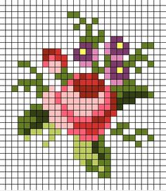 41 Ideas For Embroidery Patterns Small Flowers Small Cross Stitch, Cross Stitch Cards, Cross Stitch Rose, Cross Stitch Flowers, Cross Stitch Designs, Cross Stitching, Cross Stitch Embroidery, Embroidery Patterns, Cross Stitch Patterns
