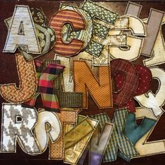 """""""Fabric letters made with scraps from upholstery sample books. All of the diff… """"Fabric letters made with scraps from upholstery sample books. All of the different textures will be good sensory play for the littles while they teach…"""" Scrap Fabric Projects, Fabric Scraps, Sewing Projects, Upholstery Repair, Upholstery Foam, Upholstery Cleaning, Upholstery Cushions, Furniture Upholstery, Fabric Letters"""
