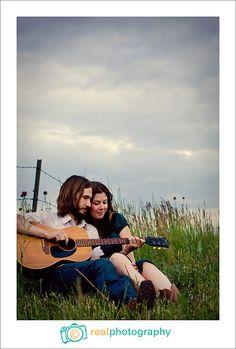 engagement portrait guitar pose