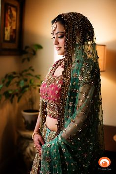 Just look at the bulk, the size of the bun. As it is done off the nape, the static electricity of the bun does not tend to draw phlegm to the throat, hence it is relatively safe. Beige Wedding, Desi Wedding, Indian Wedding Outfits, Indian Outfits, Indian Weddings, Hindu Bride, Bollywood Fashion, Bollywood Style, Asian Bridal