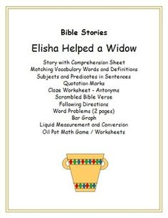 Worksheet Bible Story Worksheets gods promises sentence fragments and worksheets on pinterest this set of center around the story in bible elisha how he