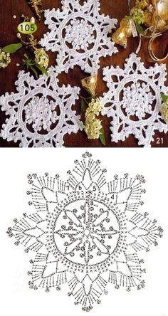 57 Ideas for knitting christmas decorations snowflake ornaments Crochet Snowflake Pattern, Crochet Stars, Crochet Motifs, Christmas Crochet Patterns, Holiday Crochet, Crochet Snowflakes, Doily Patterns, Christmas Knitting, Thread Crochet