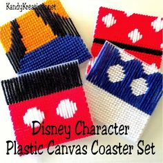 Disney Character Plastic Canvas Pattern Coaster Set Plastic Canvas Box Patterns, Plastic Canvas Coasters, Plastic Canvas Crafts, Cool Coasters, Quick Crochet, Plastic Canvas Christmas, Christmas Crafts For Gifts, How To Make Box, Minnie Mouse Party