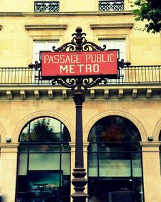 Red Paris Metro Sign - Paris, France - Fine Art Travel Photography - 8x10 Print. $30.00, via Etsy.