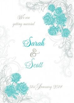 Annalise 5x7 Vertical Flat Invitation in Turquoise - DreamDay Invitations