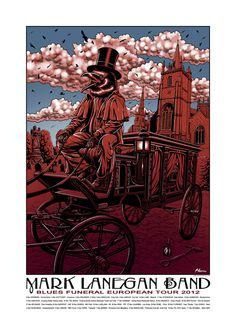 """Mark Lanegan Band European tour poster. A four color print measuring 18""""x25"""" on 100 lb white cougar paper in a signed & numbered limited edition of only 100 copies.  I worked very closely with Mark on this one & we're both pleased with the result, I hope that you are as well. The image is based on the lyrics for the song 'The Gravediggers Song'. $40"""