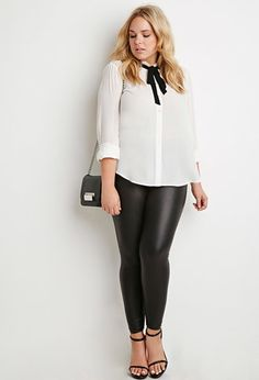 School Clothes | Forever21 - Plus Size Self Tie Bow Crepe Shirt