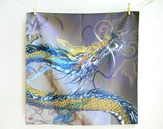 Rising dragon Nobori ryu Hand made cloth, Furoshiki Japanese wrapping cloth Medium
