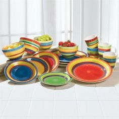 Shop for Santa Fe Hand-Painted Striped Stoneware Dinnerware and more Dining \u0026 Entertaining on Brylanehome.  sc 1 st  Pinterest & The vibrant Striped Dinnerware Collection can be used for any meal ...