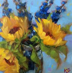 "Daily Paintworks - ""Sunflowers & Delphiniums"" by Krista Eaton"