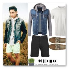"""""""URBANCREWS Mens Button Down Hooded Denim Jacket"""" by urbancleo ❤ liked on Polyvore featuring Cheap Monday and Crate and Barrel"""