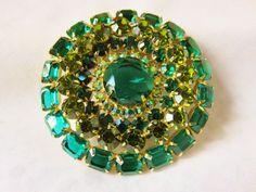 Vintage Juliana Huge 3 Glorious Green Emerald Cut by vintagelady7
