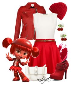 """""""Jubileena Bing-Bing - Disney's Wreck-It-Ralph"""" by rubytyra ❤ liked on Polyvore featuring Barbour, tarte, IRO, Alexander McQueen, Valentino, G by Guess, disney, disneybound and WreckItRalph"""