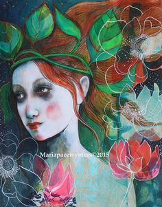 Botanical Warrior- Original mixed media painting by Maria Pace Wynters