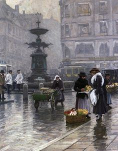 The Stork Fountain in Amagertorv - by Paul Gustave Fischer
