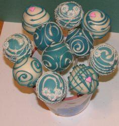 Teal wedding cake pops
