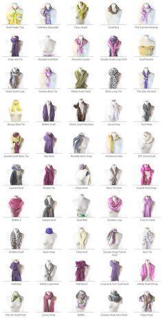 Para cada exemplo acima, tem um tutorial explicando como fazer! Se chama www.scarves.nete além desses tutoriais, tem e-book para baixar de graça e várias outras informações sobre scarves!
