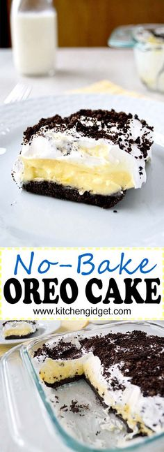 This no bake Oreo Cake is layers of vanilla pudding, cream cheese and cool whip on an Oreo crust! (AKA Oreo Delight, Dessert Lasagna)