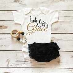 Baby Clothes - Boots, Lace, & Grace Onesie