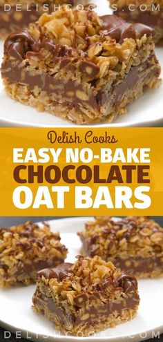 Easy No-Bake Chocolate Oat Bars chocolate oat bars nobake easy weightwatchers weight watchers ketogenic lowcarb slimmingworld Chocolate Oat Bars Recipe, Chocolate Oatmeal Cookies, Oatmeal Cookie Recipes, Chocolate Chip Oatmeal, Chocolate Chips, No Bake Oatmeal Bars, No Bake Bars, Easy Desserts, Dessert Recipes