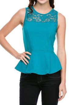 ObsessedToDress.com - Lace Trim Peplum Top - Turq, $14.99