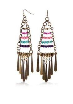 New Directions  Long Jewel Tone Chandelier Earrings