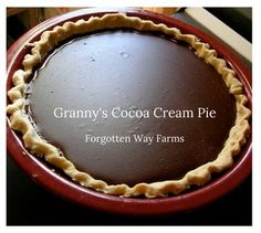 This recipe for a Cocoa Cream Pie is a lovely quick desert often used during the 30's and 40's. This oldie was my granny's, and she made the best pies! It's simple and tasty. I hope you decide to try a recipe from the past today! Give it a shot, and it may just surprise you with its delicious ease.