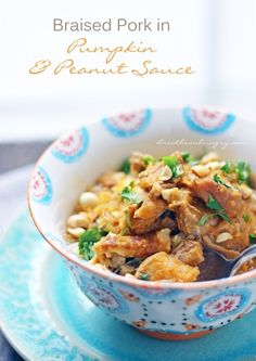 Pumpkin pork peanut stew! A delicious low carb stew of pumpkin, pork, and peanuts that is delectably rich and satisfying. Destined to become a new family favorite! Gluten free, low carb, keto