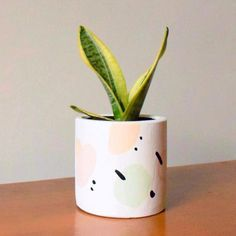 Handpainted Concrete Planter - Design Alison Willoughby abstract handpainted, one-of-a-kind concrete planter pot with drainage hole Painted Plant Pots, Painted Flower Pots, Painting Concrete, Ceramic Painting, Concrete Planters, Potted Plants, Diy Art, Color Schemes, Creations