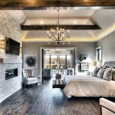 Modern romantic master bedroom master bedroom decor ideas best master bedroom images on ideas homemade master Big Bedrooms, Beautiful Bedrooms, Bedroom Fireplace, Luxurious Bedrooms, Minimalist Bedroom, Modern Bedroom, Dream Master Bedroom, Rustic Master Bedroom, Master Bedrooms Decor