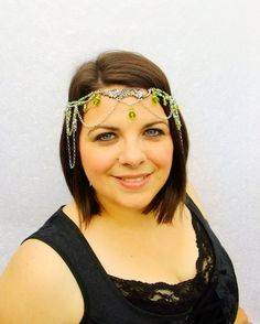A beautiful ornate green forest fairy head piece. Perfect for your woodland or fairy wedding.  Fully adjustable, clasps in the back with lobster