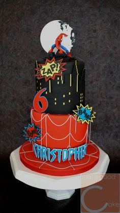 Spiderman Cake Ideas for Little Super Heroes - Novelty Birthday Cakes Spiderman Cake Topper, Spiderman Birthday Cake, Batman Cakes, Superhero Cake, Cupcakes, Cupcake Cakes, Avenger Cake, Novelty Birthday Cakes, Character Cakes