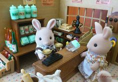 Alex & Kate in the village store (Sylvanako) Tags: food cute animal shop miniature sweet families supermarket calico rabbits generalstore sylvanianfamilies sylvanian calicocritters