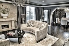 glam-living-room-interior-design - Home Decorating Trends - Homedit Glam Living Room, Formal Living Rooms, Living Room Decor, Inspiration Design, Decoration Inspiration, Interior Motorhome, Transitional Living Rooms, Décor Boho, Living Room Remodel