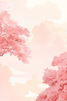 Pastel Clouds, Pastel Sky, Sky And Clouds, Pink Clouds Wallpaper, Cute Pastel Wallpaper, Scenery Wallpaper, Yellow Leaf Trees, Pink Trees, Coral Background
