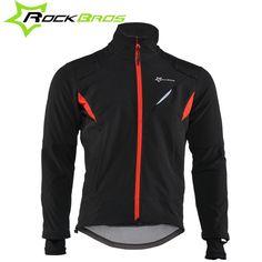 ROCKBROS Cycling Jersey Winter Thermal Fleece Long Cycling Clothing Windproof Riding Bicycle Jerseys Rainproof Reflective Jacket