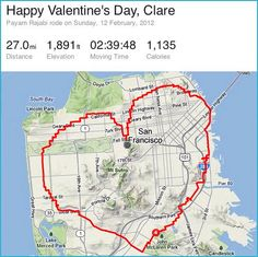 For Valentine's Day, Payam rode his bike around San Francisco in the shape of a heart for his long distance girlfriend.