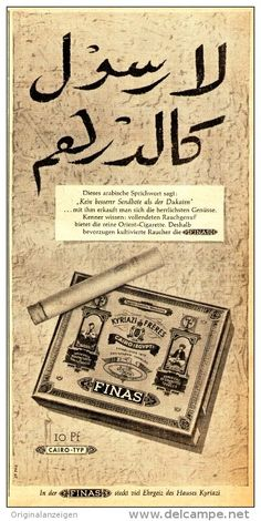 Original-Werbung/ Anzeige 1958 - FINAS CAIRO ZIGARETTEN - ca. 120 x 240 mm