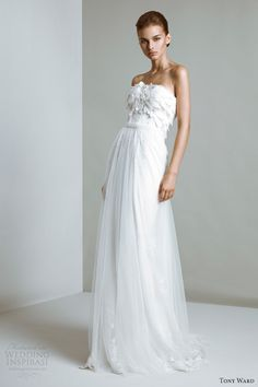 tony ward bridal 2014 collection Ophelia strapless gown with organza petal bodice.