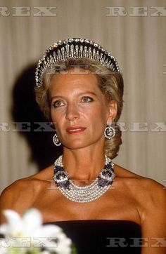 A lovely image of Princess Michael wearing the Londond Fringe tiara, backed by…