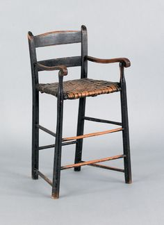 Painted weaver's chair, early 19th c., retaining an old black surface