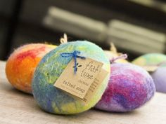 Handmade Soaps wrapped in wool by Fiat Luxe. Brilliant. And re-usable!