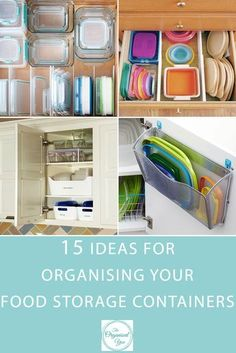 15 Ideas for Organising Your Food Storage Containers - are your kitchen cupboards or drawers overflowing with food storage containers and lids? Having trouble finding storage solutions for your food container collection? This round-up will give you some ideas and inspiration for getting your food storage containers sorted with a few clever organising tricks. Click through to read the full post!