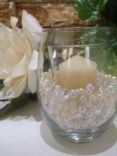 500 Pcs Pearls & Diamond Mixes Ivory/White, Clear Diamonds For Candle Votive Fillers, Table Scatter/Confetti and wedding decors Pearl Centerpiece, Candle Centerpieces, Votive Candles, Wedding Centerpieces, Wedding Table, Reception Table, Centerpiece Ideas, Hurricane Candle, Centerpiece Flowers