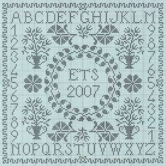 great sampler alphabet cross stitch with numbers and circle dated monogram Cross Stitch Heart, Cross Stitch Alphabet, Cross Stitch Samplers, Counted Cross Stitch Patterns, Cross Stitch Designs, Cross Stitching, Cross Stitch Embroidery, Blackwork Patterns, Cross Stitch Freebies