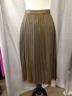 NWT REISS Kaeya Gold Metallic Party Pleated Skirt Sz 2 Reg $245  #Reiss #Pleated